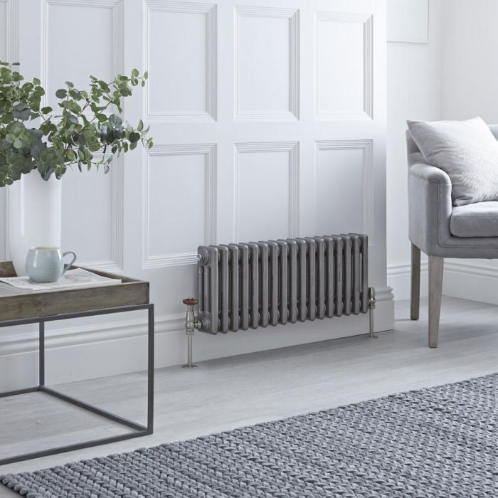 Milano Windsor - Horizontal Triple Column Lacquered Raw Metal Traditional Cast Iron Style Radiator - 300mm x 785mm
