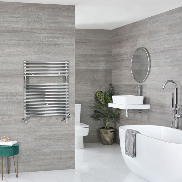 Milano Arno - Chrome Dual Fuel Bar on Bar Heated Towel Rail 730mm x 450mm