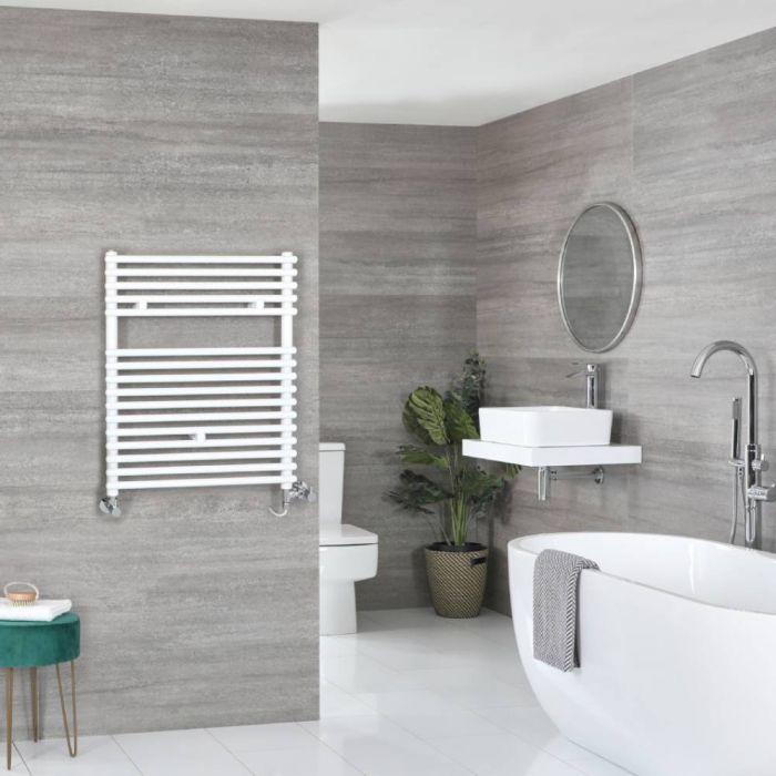 Milano Arno - White Dual Fuel Bar on Bar Heated Towel Rail 730mm x 600mm