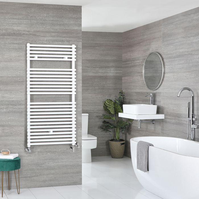 Milano Arno - White Dual Fuel Bar on Bar Heated Towel Rail 1190mm x 600mm