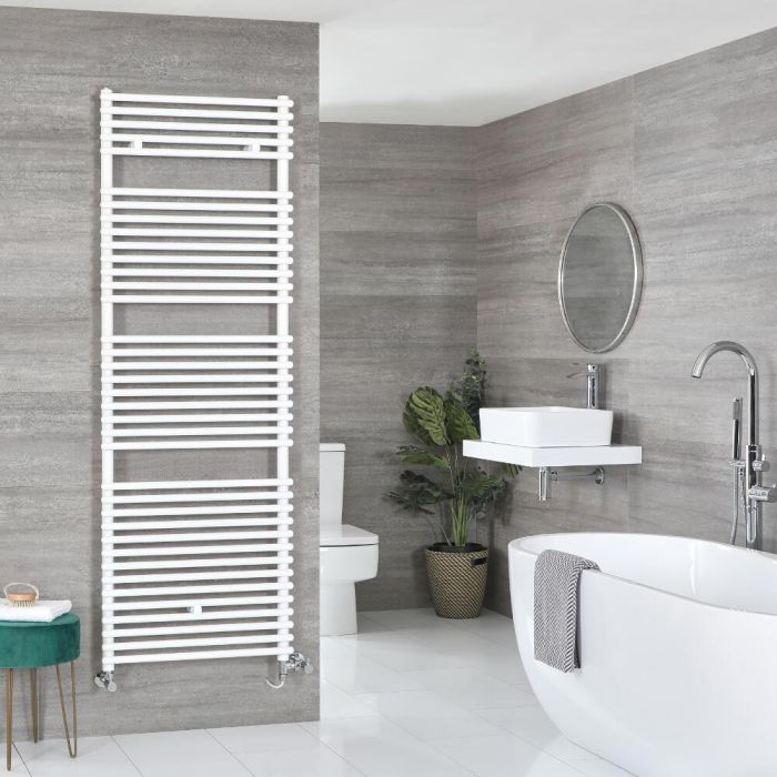 Milano Arno Dual Fuel - White Bar on Bar Heated Towel Rail - Various Sizes
