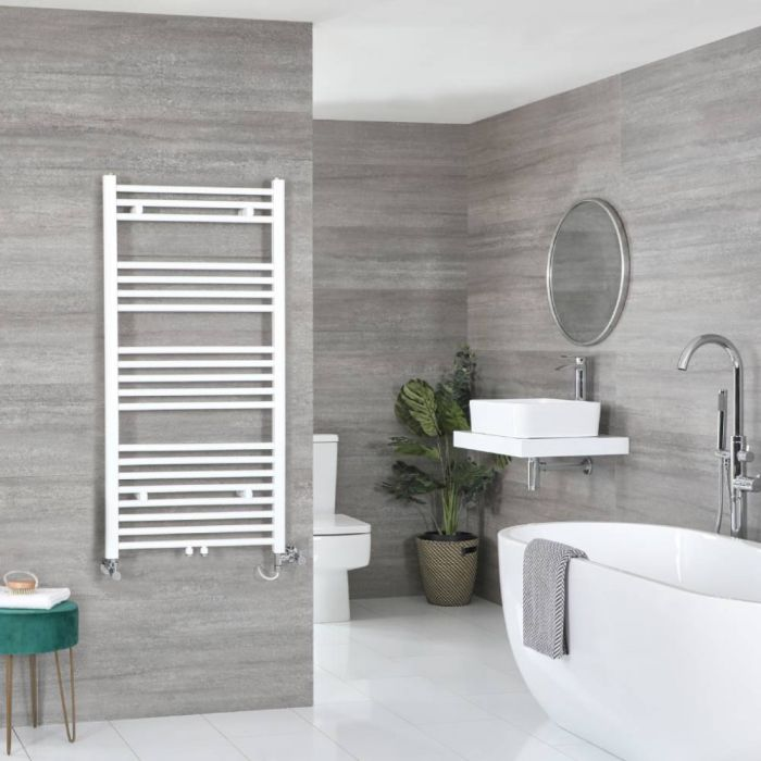 Milano Neva - White Dual Fuel Heated Towel Rail 1188mm x 500mm