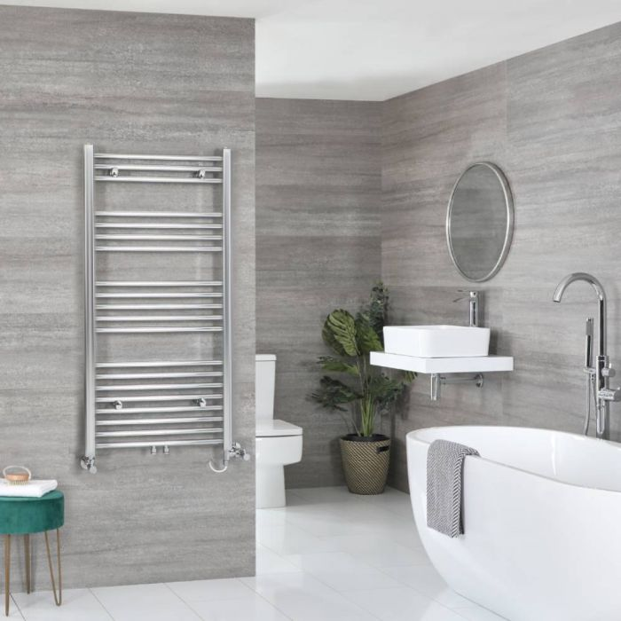 Milano Neva - Chrome Dual Fuel Heated Towel Rail 1188mm x 600mm