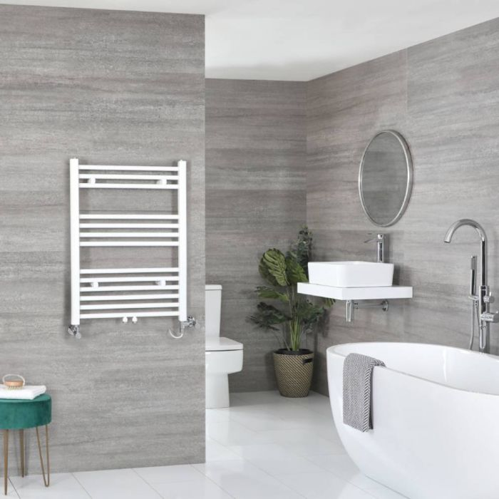 Milano Neva - White Dual Fuel Heated Towel Rail 803mm x 600mm
