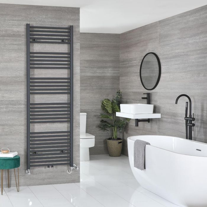 Milano Neva Dual Fuel - Anthracite Heated Towel Rail - Various Sizes