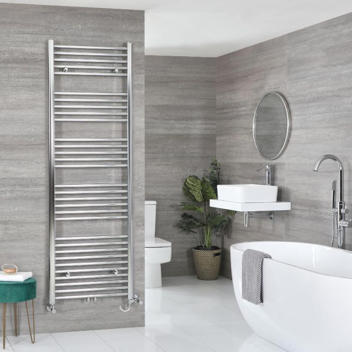 Milano Neva Dual Fuel - Chrome Heated Towel Rail - Various Sizes
