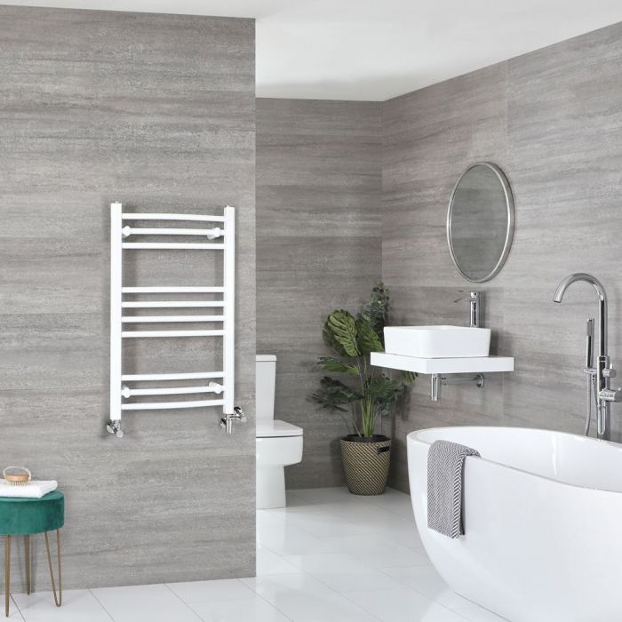 Milano Ive - White Dual Fuel Curved Heated Towel Rail 800mm x 500mm