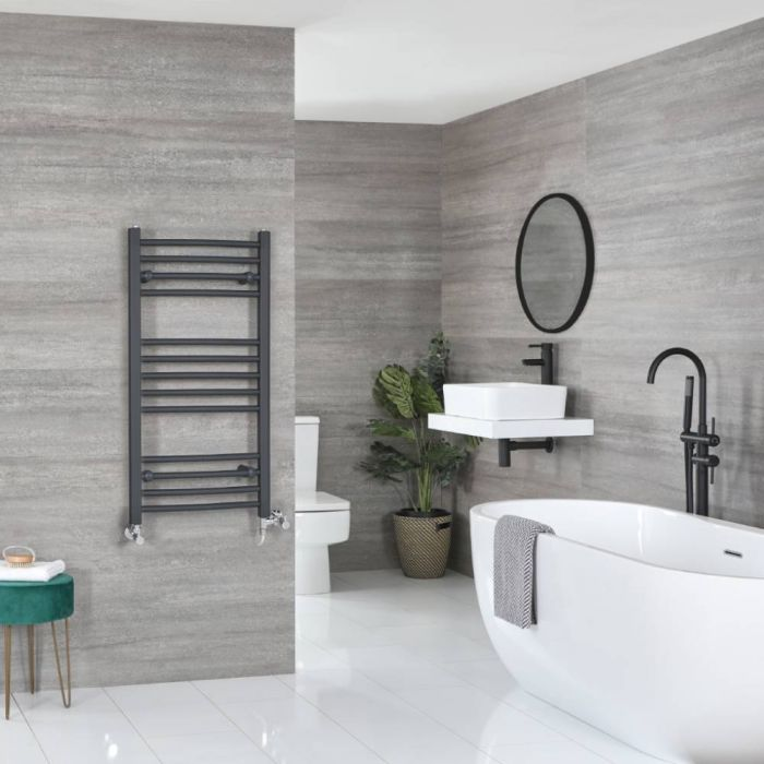 Milano Artle - Anthracite Dual Fuel Curved Heated Towel Rail 1000mm x 500mm