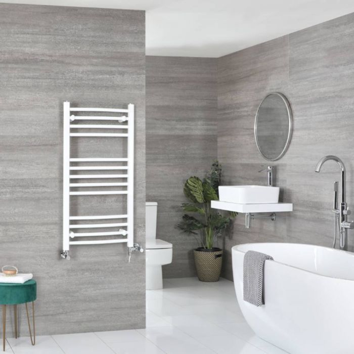 Milano Ive - White Dual Fuel Curved Heated Towel Rail 1000mm x 500mm