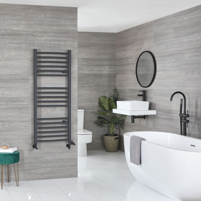 Milano Artle - Anthracite Dual Fuel Curved Heated Towel Rail 1200mm x 500mm