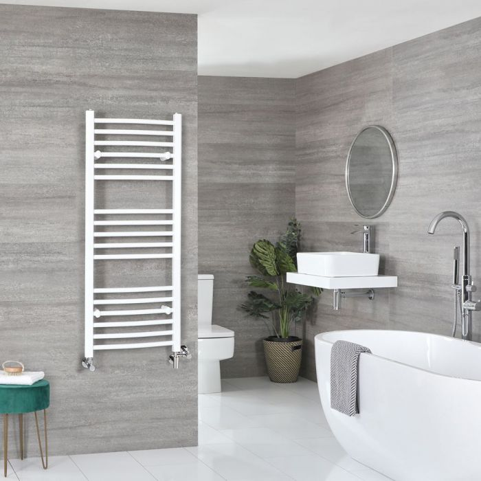Milano Ive - White Dual Fuel Curved Heated Towel Rail 1200mm x 500mm