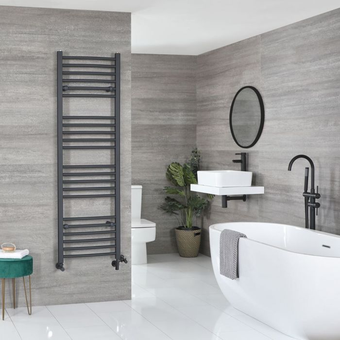 Milano Artle - Anthracite Dual Fuel Curved Heated Towel Rail 1600mm x 500mm