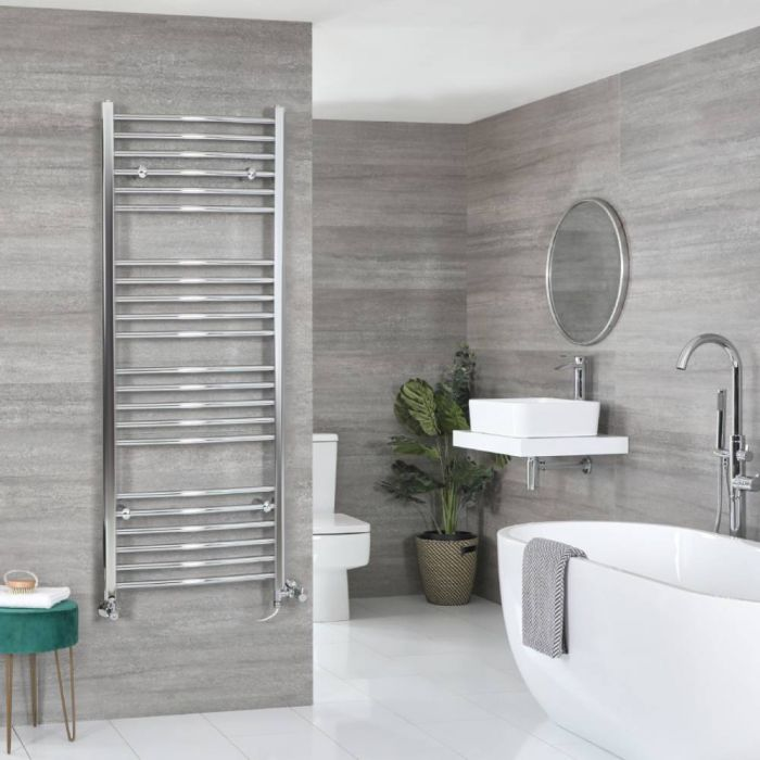 Milano Kent - Chrome Dual Fuel Curved Heated Towel Rail 1600mm x 600mm