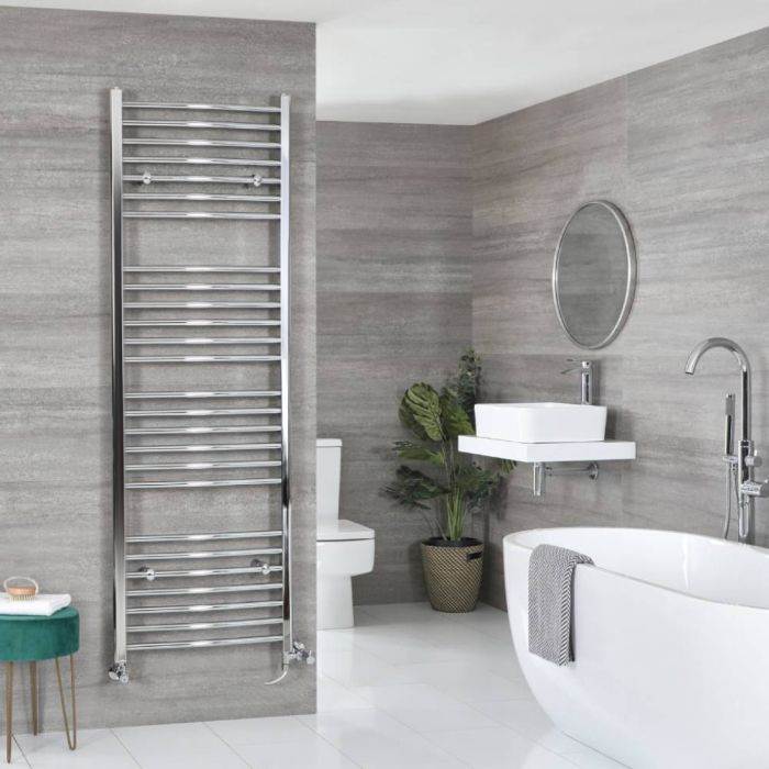 Milano Kent - Chrome Dual Fuel Curved Heated Towel Rail 1800mm x 600mm