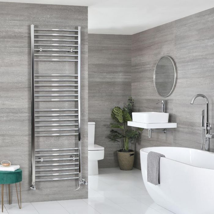 Milano Kent Dual Fuel - Curved Chrome Heated Towel Rail - Various Sizes