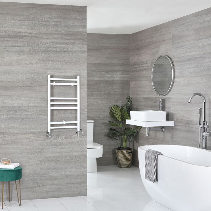 Milano Ive - White Dual Fuel Flat Heated Towel Rail 600mm x 400mm
