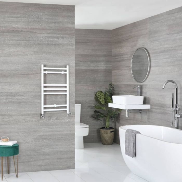 Milano Ive - White Dual Fuel Flat Heated Towel Rail 600mm x 400mm
