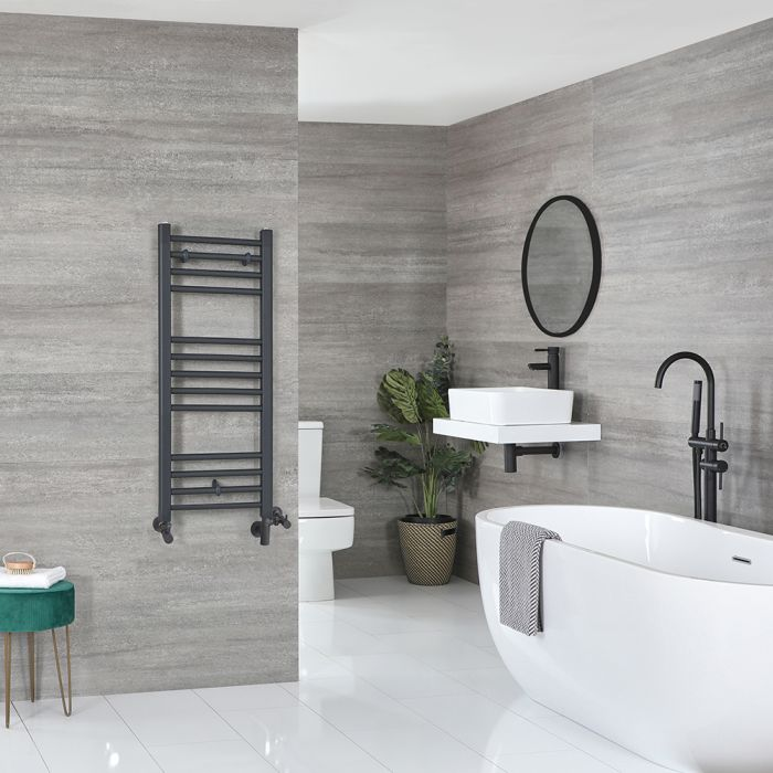 Milano Artle - Anthracite Dual Fuel Flat Heated Towel Rail 1000mm x 400mm
