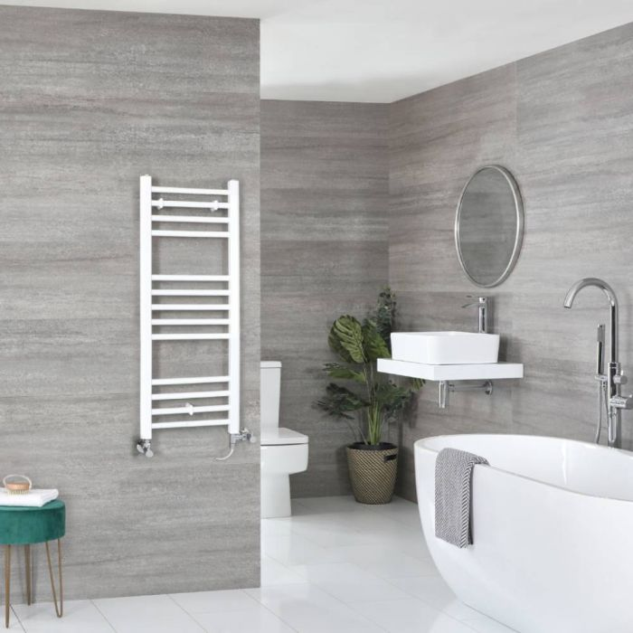 Milano Ive - White Dual Fuel Flat Heated Towel Rail 1000mm x 400mm