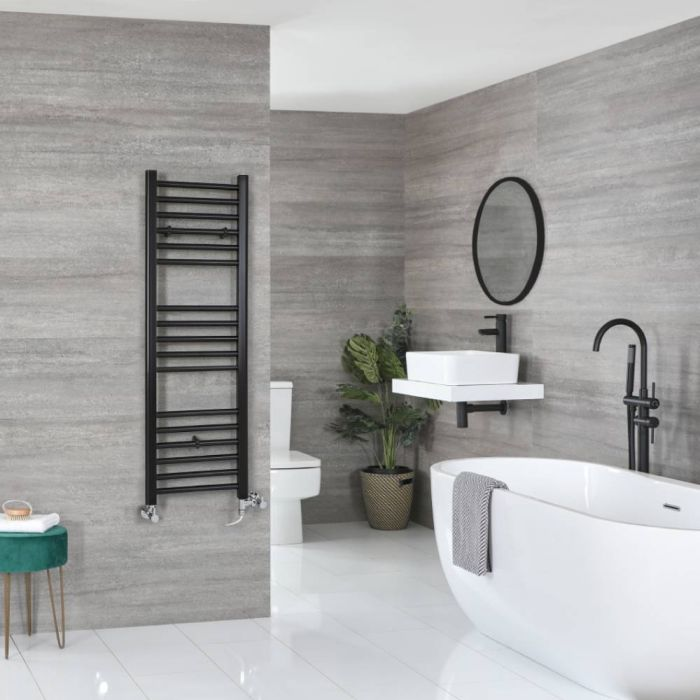 Milano Nero - Matt Black Dual Fuel Flat Heated Towel Rail 1200mm x 400mm