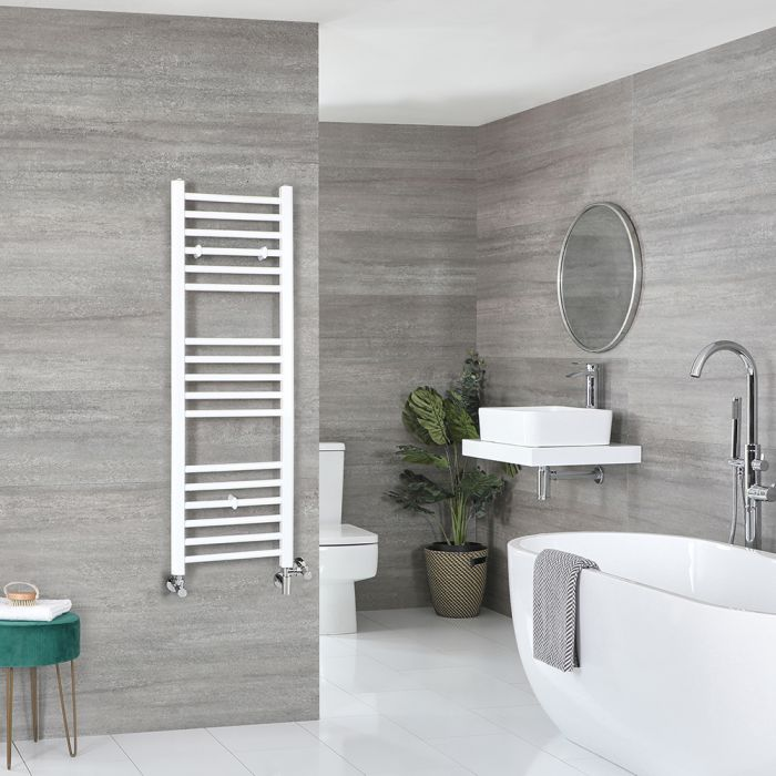 Milano Ive - White Dual Fuel Flat Heated Towel Rail 1200mm x 400mm