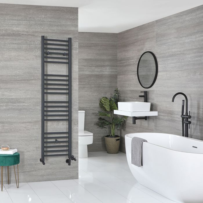 Milano Artle - Anthracite Dual Fuel Flat Heated Towel Rail 1600mm x 400mm