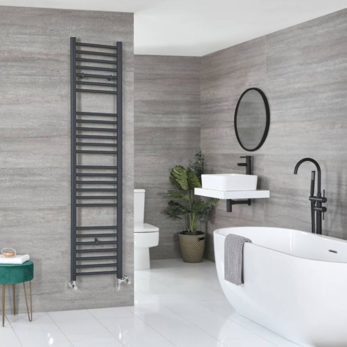 Milano Artle - Anthracite Dual Fuel Flat Heated Towel Rail 1800mm x 400mm