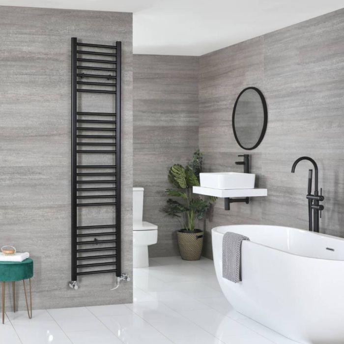 Milano Nero - Matt Black Dual Fuel Flat Heated Towel Rail 1800mm x 400mm