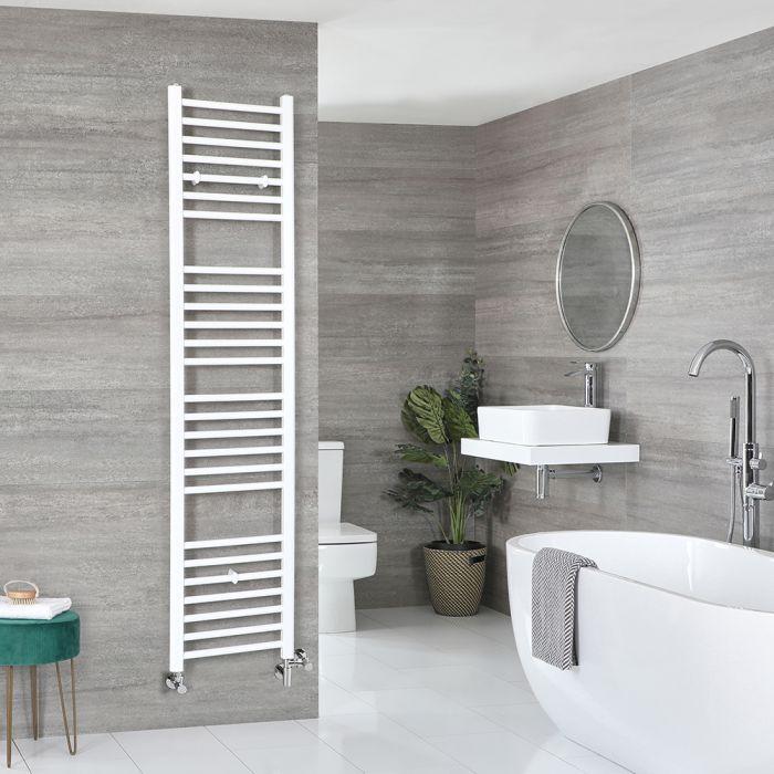 Milano Ive - White Dual Fuel Flat Heated Towel Rail 1800mm x 400mm