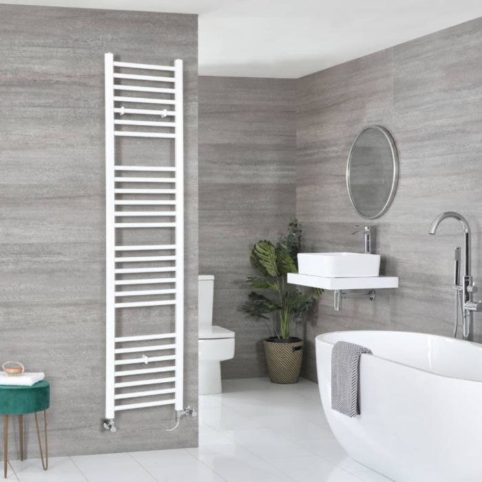 Milano Ive - White Dual Fuel Flat Heated Towel Rail 1800mm x 400mm