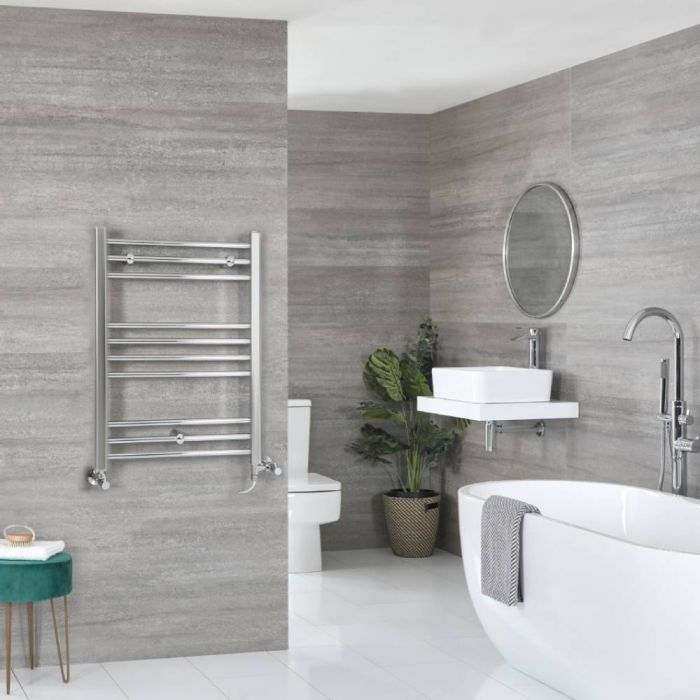Milano Kent - Chrome Dual Fuel Flat Heated Towel Rail 800mm x 500mm