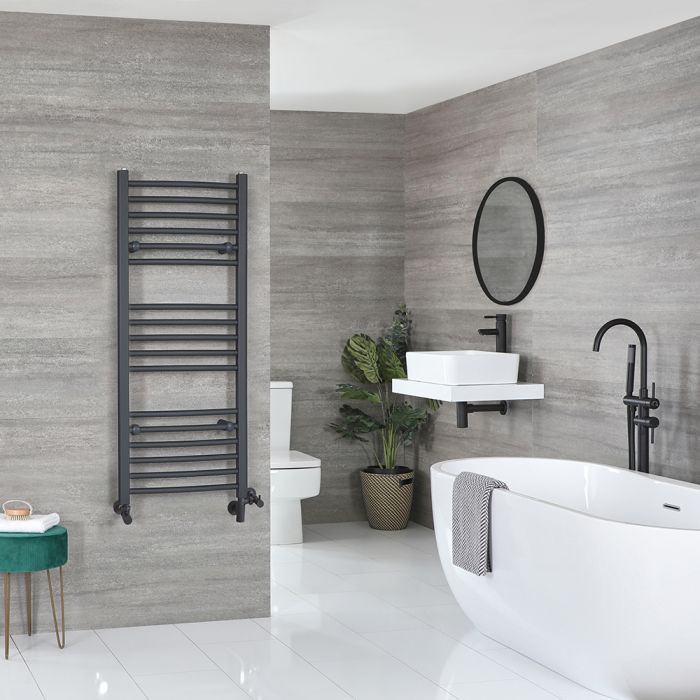 Milano Artle - Anthracite Dual Fuel Flat Heated Towel Rail 1200mm x 500mm