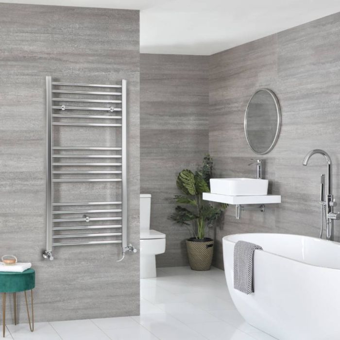 Milano Kent - Chrome Dual Fuel Flat Heated Towel Rail 1200mm x 500mm