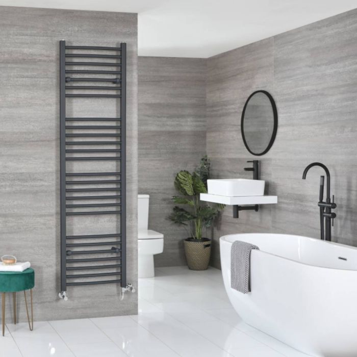 Milano Artle - Anthracite Dual Fuel Flat Heated Towel Rail 1800mm x 500mm