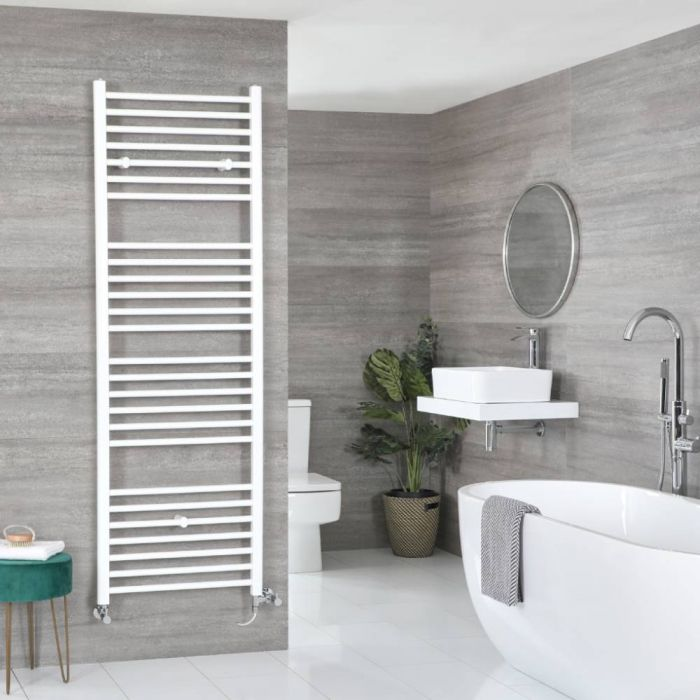Milano Ive - White Dual Fuel Flat Heated Towel Rail 1800mm x 500mm