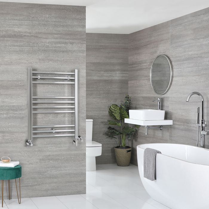 Milano Kent - Chrome Dual Fuel Flat Heated Towel Rail 800mm x 600mm