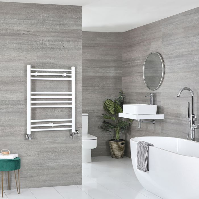 Milano Ive - White Dual Fuel Flat Heated Towel Rail 800mm x 600mm