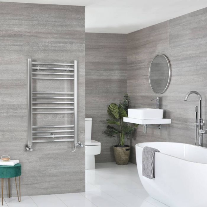 Milano Kent - Chrome Dual Fuel Flat Heated Towel Rail 1000mm x 600mm