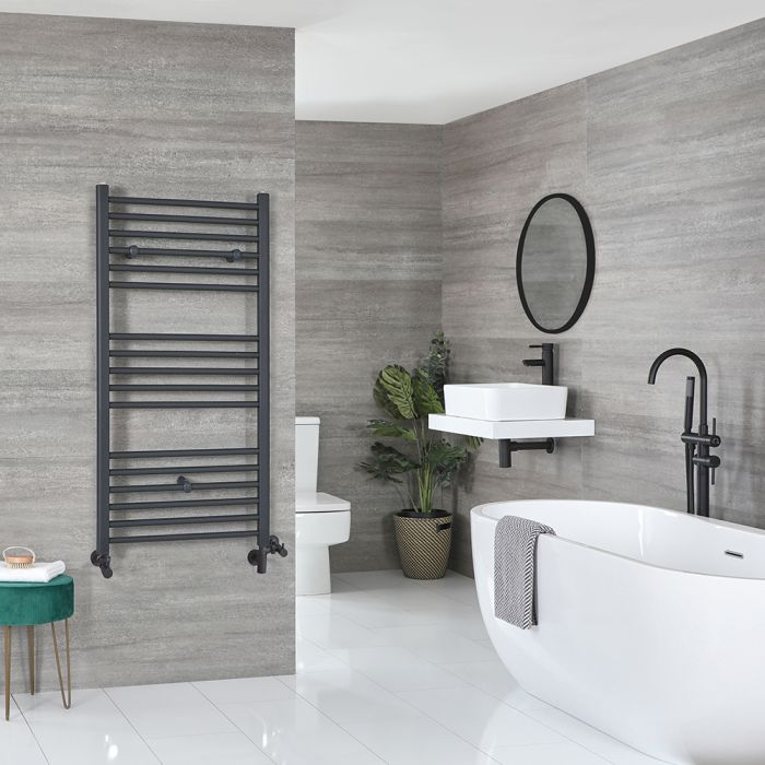 Milano Artle - Anthracite Dual Fuel Flat Heated Towel Rail 1200mm x 600mm