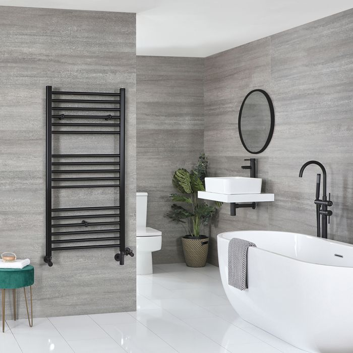 Milano Nero - Matt Black Dual Fuel Flat Heated Towel Rail 1200mm x 600mm