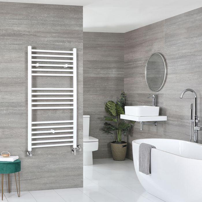 Milano Ive - White Dual Fuel Flat Heated Towel Rail 1200mm x 600mm