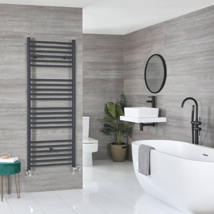 Milano Artle - Anthracite Dual Fuel Flat Heated Towel Rail 1600mm x 600mm