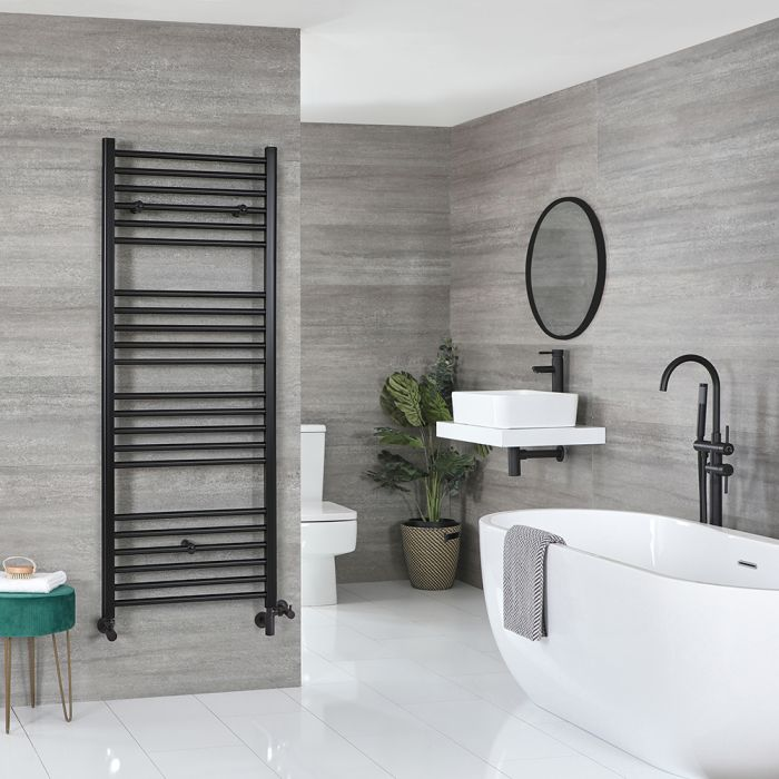 Milano Nero - Matt Black Dual Fuel Flat Heated Towel Rail 1600mm x 600mm