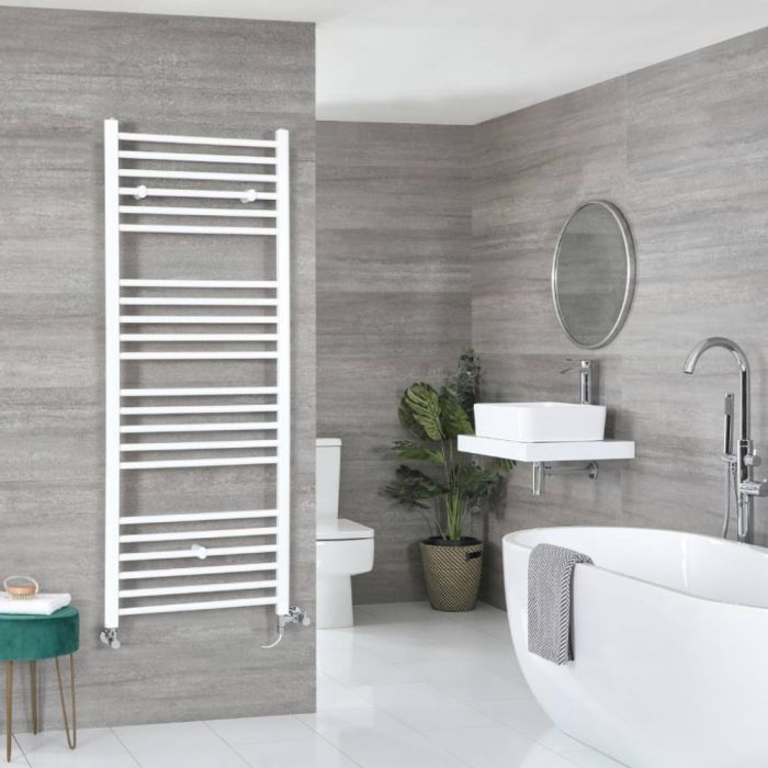 Milano Ive - White Dual Fuel Flat Heated Towel Rail 1600mm x 600mm