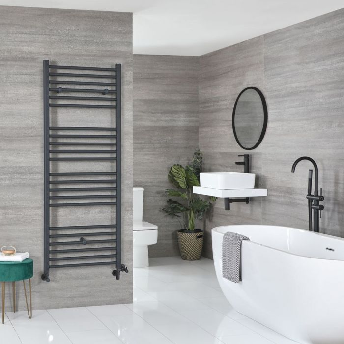 Milano Artle - Anthracite Dual Fuel Flat Heated Towel Rail 1800mm x 600mm