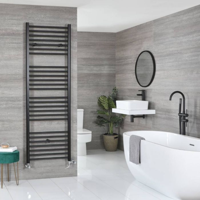 Milano Nero - Matt Black Dual Fuel Flat Heated Towel Rail 1800mm x 600mm