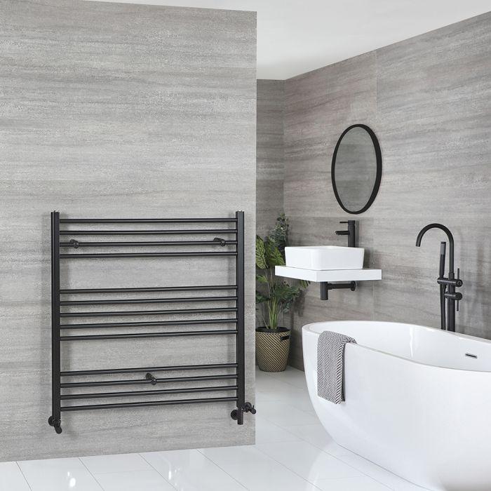Milano Nero - Matt Black Dual Fuel Flat Heated Towel Rail 1000mm x 1000mm