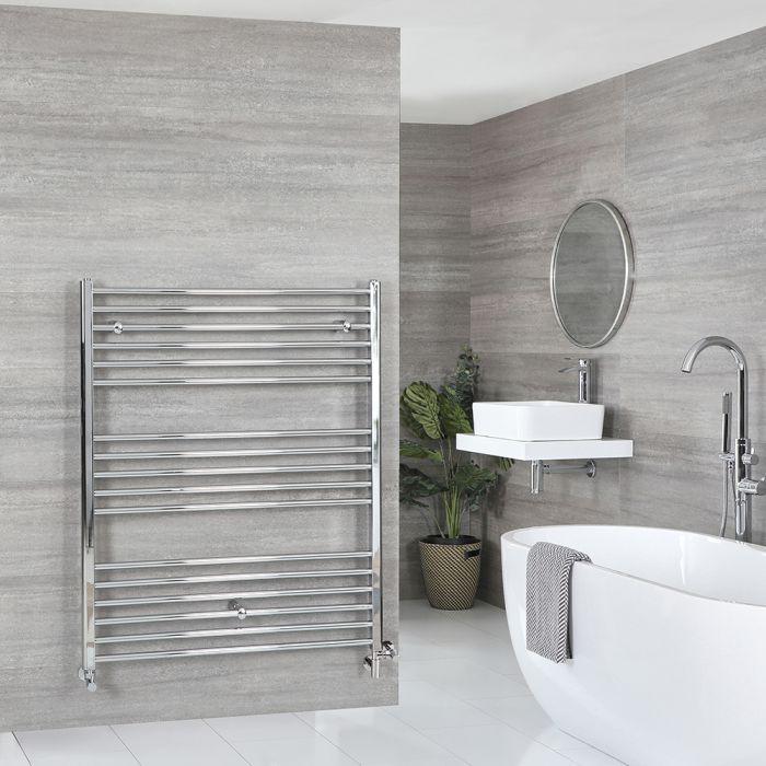 Milano Kent - Chrome Dual Fuel Flat Heated Towel Rail 1200mm x 1000mm