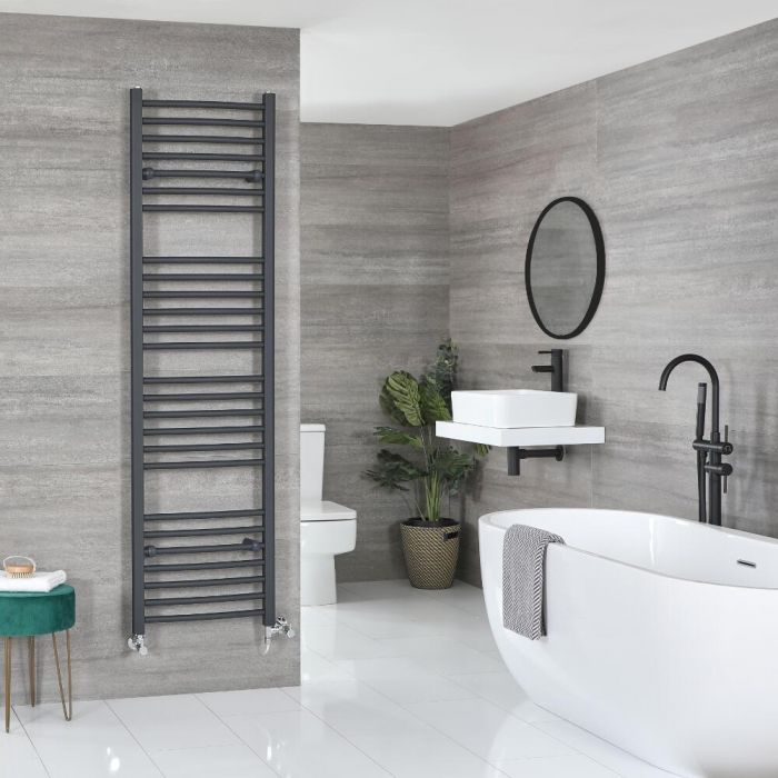 Milano Artle Dual Fuel - Flat Anthracite Heated Towel Rail - Various Sizes