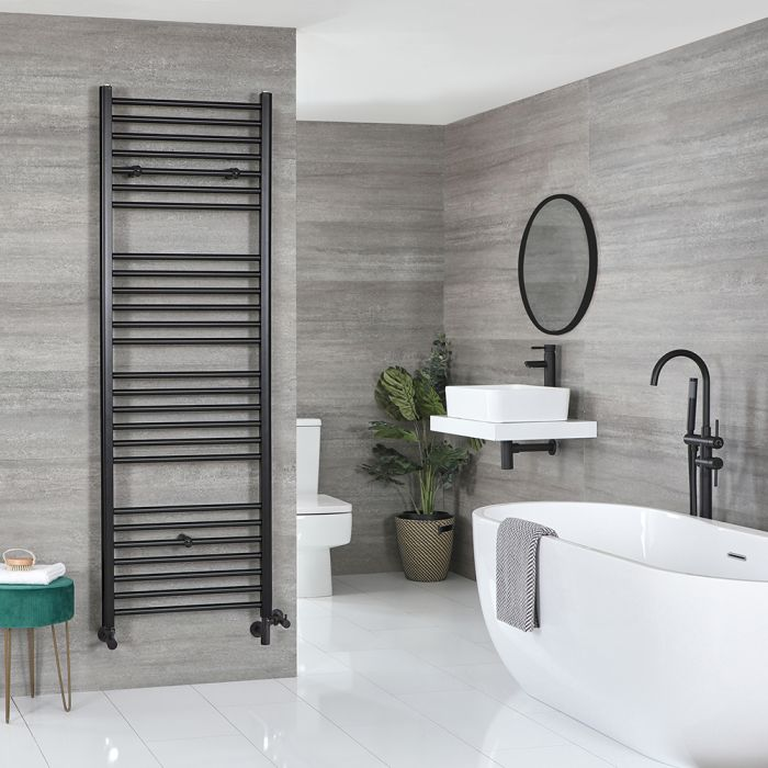 Milano Nero Dual Fuel - Flat Black Heated Towel Rail - Various Sizes